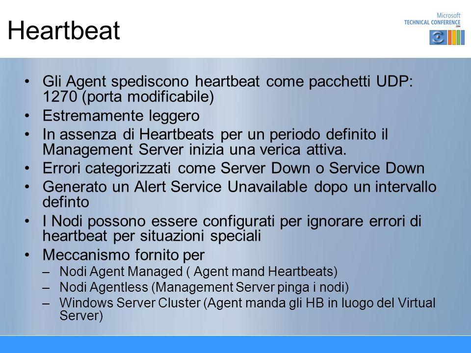 Heartbeat Gli Agent spediscono heartbeat come pacchetti UDP: 1270 (porta modificabile) Estremamente leggero In assenza di Heartbeats per un periodo de