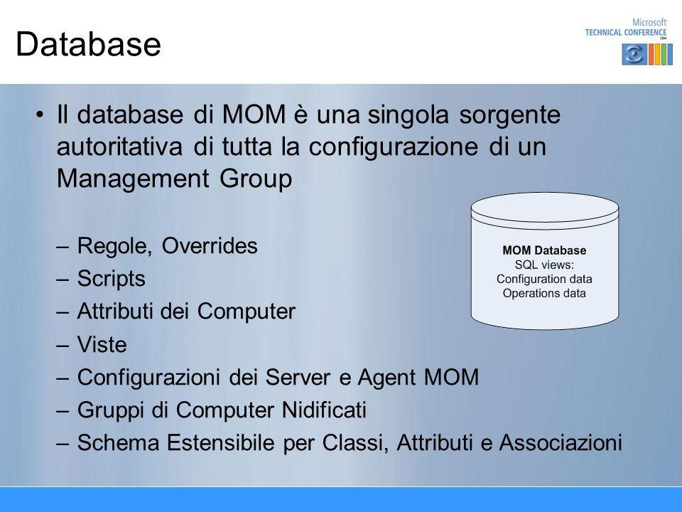 Database Il Database di MOM è anche il magazzino aggregato di tutti i dati raccolti –Eventi –Alert –Campionamenti di Performance –Dati di Scoperta Le tabelle grandi sono partizionate per data per migliorare le prestazioni Supporta SQL Server 2000, MSDE Supporta SQL Server in Cluster, istanze multiple di SQL Server e SAN