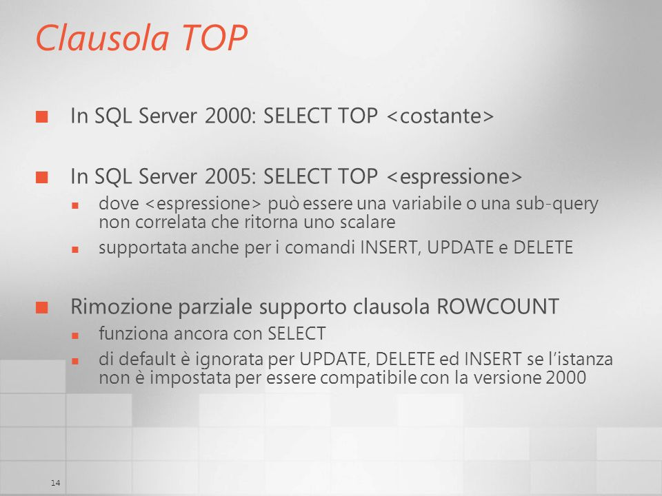 14 Clausola TOP In SQL Server 2000: SELECT TOP In SQL Server 2005: SELECT TOP dove può essere una variabile o una sub-query non correlata che ritorna