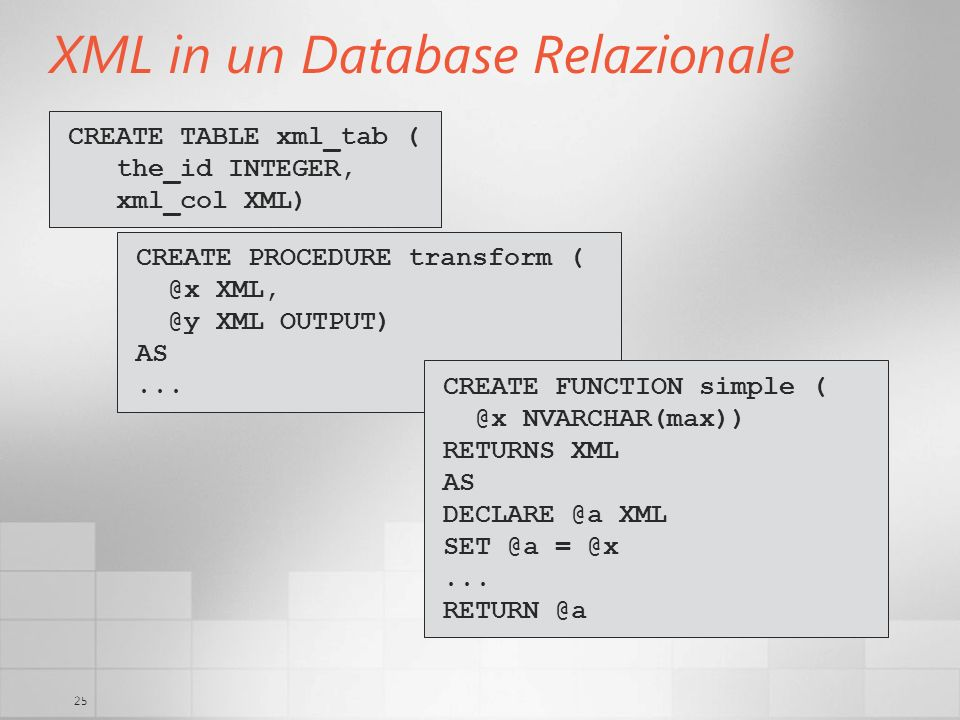 25 XML in un Database Relazionale CREATE TABLE xml_tab ( the_id INTEGER, xml_col XML) CREATE PROCEDURE transform ( @x XML, @y XML OUTPUT) AS... CREATE