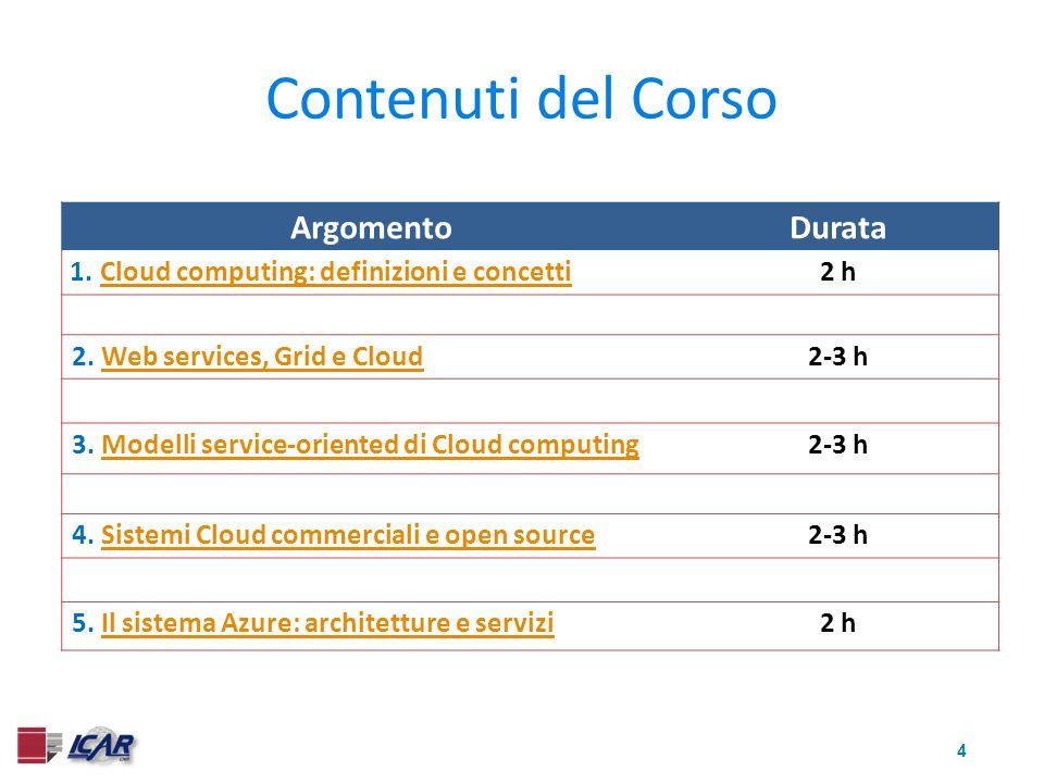 5 Contenuti del Corso Il materiale offre una introduzione generale a tutti gli argomenti trattati e poi descrive con maggior dettaglio i concetti principali del Cloud computing e i dettagli tecnici ed architetturali dei sistemi descritti.