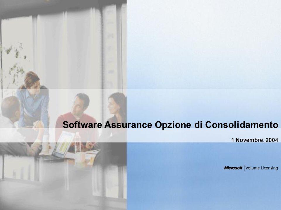Regole generali sui rinnovi e sulle opzioni di consolidamento Rinnovo significa rinnovare Software Assurance al termine della sua copertura.