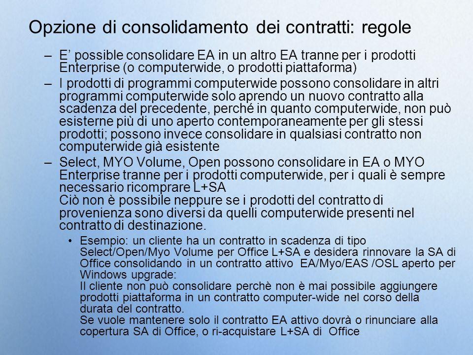 Opzione di consolidamento dei contratti: regole –E possible consolidare EA in un altro EA tranne per i prodotti Enterprise (o computerwide, o prodotti