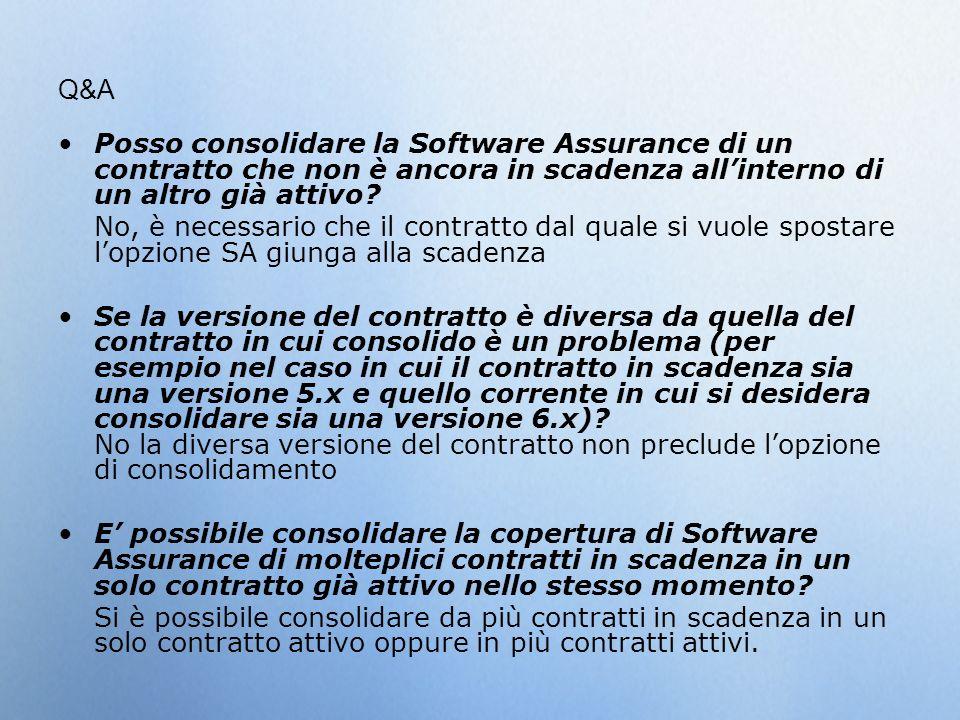 Q&A Posso consolidare la Software Assurance di un contratto che non è ancora in scadenza allinterno di un altro già attivo? No, è necessario che il co