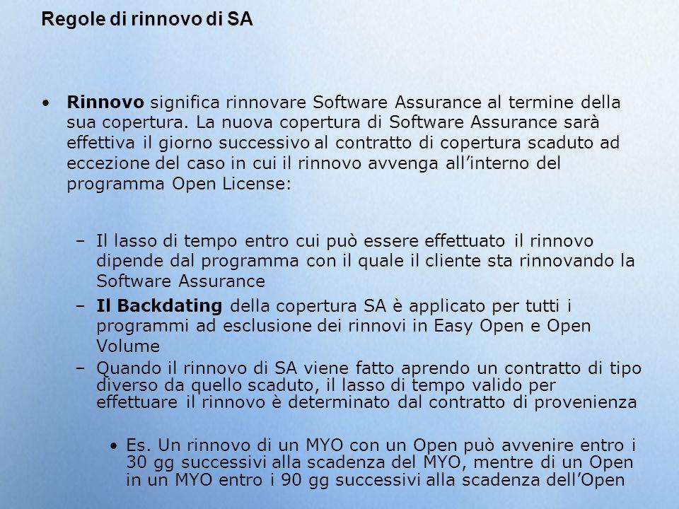 Regole di rinnovo di SA Rinnovo significa rinnovare Software Assurance al termine della sua copertura. La nuova copertura di Software Assurance sarà e