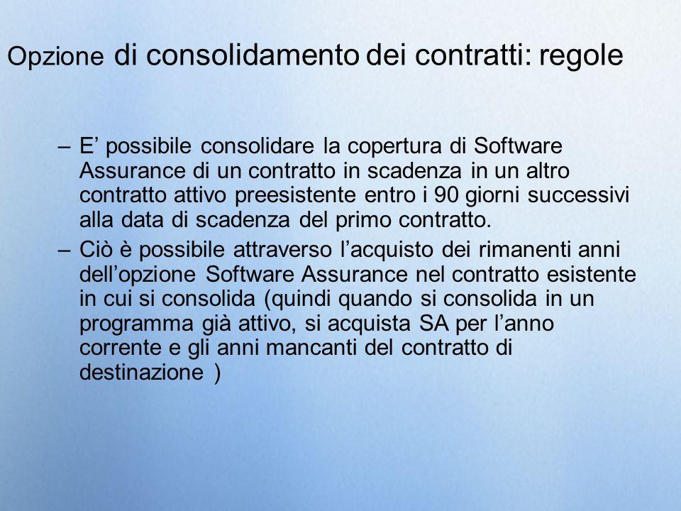 Opzione di consolidamento dei contratti: regole –E possibile consolidare la copertura di Software Assurance di un contratto in scadenza in un altro co
