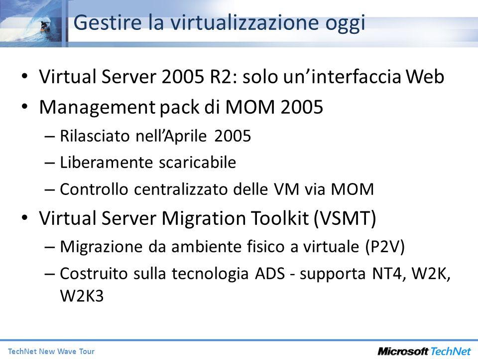 TechNet New Wave Tour Gestire la virtualizzazione oggi Virtual Server 2005 R2: solo uninterfaccia Web Management pack di MOM 2005 – Rilasciato nellAprile 2005 – Liberamente scaricabile – Controllo centralizzato delle VM via MOM Virtual Server Migration Toolkit (VSMT) – Migrazione da ambiente fisico a virtuale (P2V) – Costruito sulla tecnologia ADS - supporta NT4, W2K, W2K3