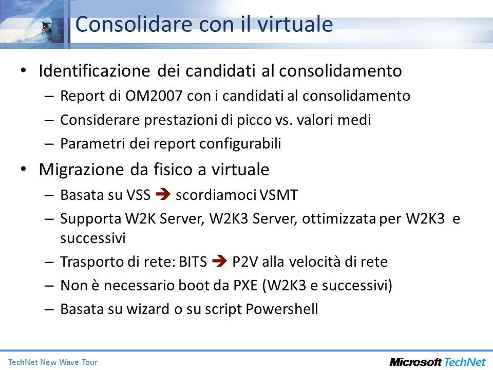 TechNet New Wave Tour Consolidare con il virtuale Identificazione dei candidati al consolidamento – Report di OM2007 con i candidati al consolidamento – Considerare prestazioni di picco vs.