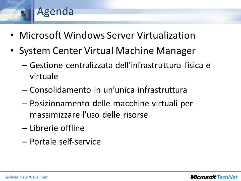 TechNet New Wave Tour Agenda Microsoft Windows Server Virtualization System Center Virtual Machine Manager – Gestione centralizzata dellinfrastruttura