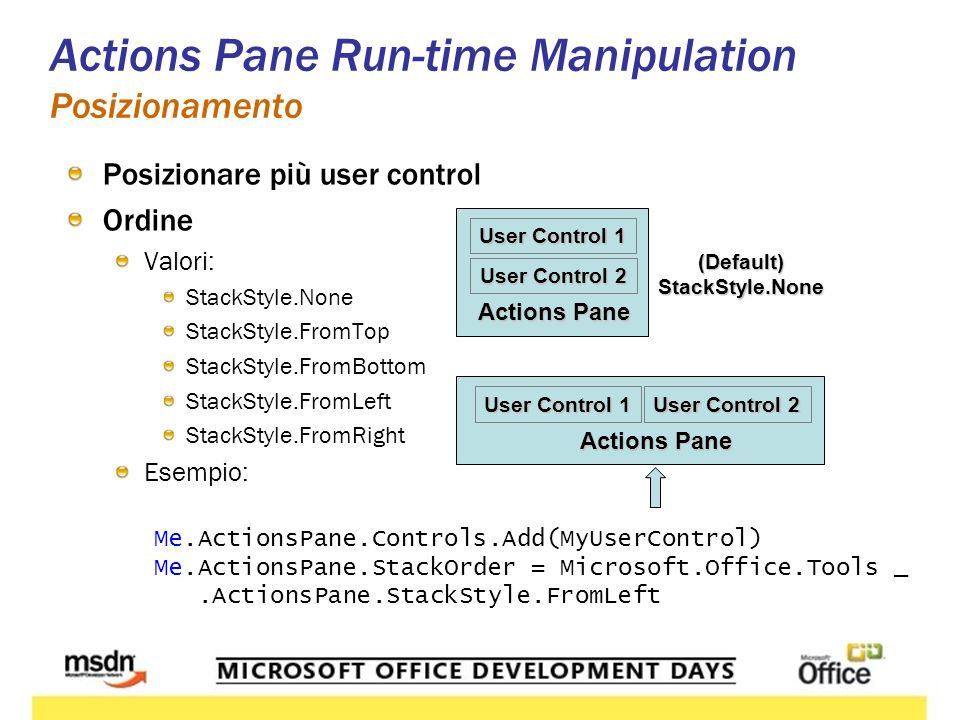 Actions Pane Run-Time Manipulation