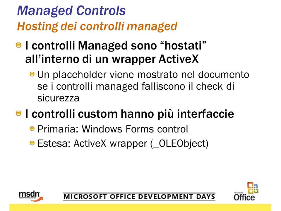 Managed Controls Hosting dei controlli managed I controlli Managed sono hostati allinterno di un wrapper ActiveX Un placeholder viene mostrato nel doc