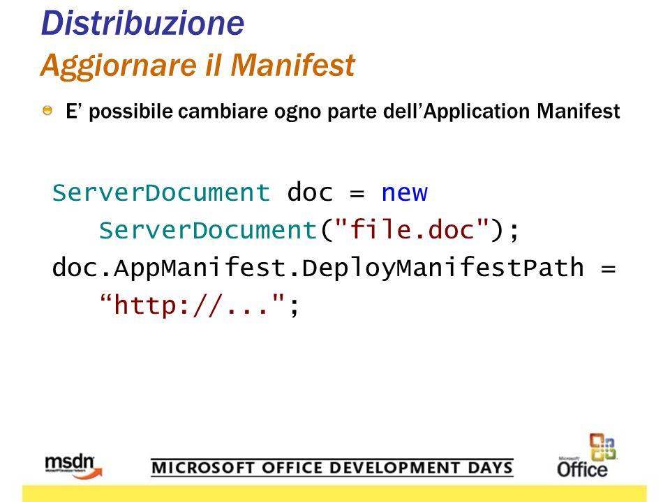 Distribuzione Aggiornare il Manifest E possibile cambiare ogno parte dellApplication Manifest ServerDocument doc = new ServerDocument( file.doc ); doc.AppManifest.DeployManifestPath = http://... ;
