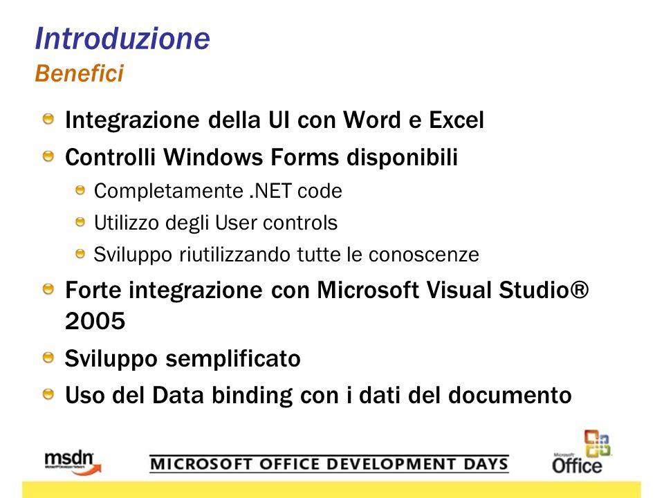 Introduzione Benefici Integrazione della UI con Word e Excel Controlli Windows Forms disponibili Completamente.NET code Utilizzo degli User controls Sviluppo riutilizzando tutte le conoscenze Forte integrazione con Microsoft Visual Studio® 2005 Sviluppo semplificato Uso del Data binding con i dati del documento