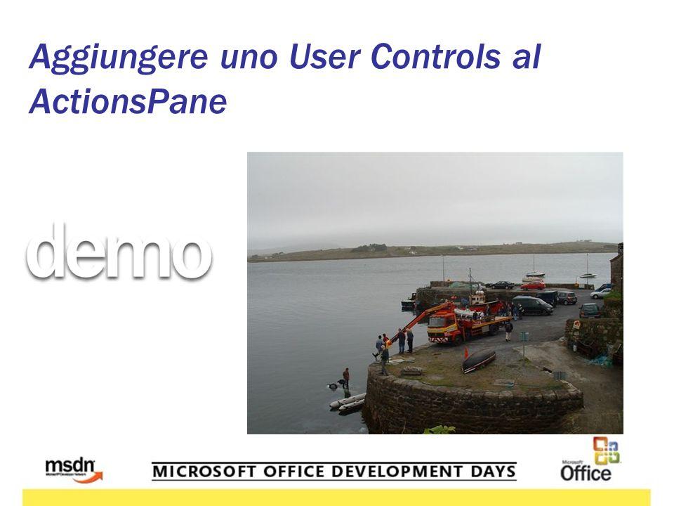 Aggiungere uno User Controls al ActionsPane