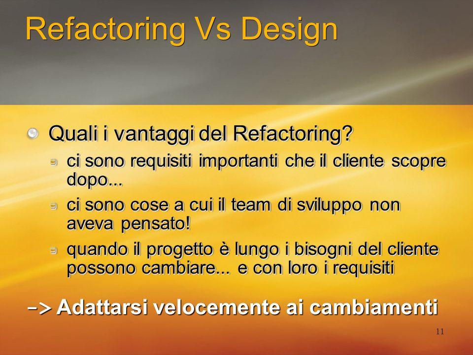 11 Refactoring Vs Design Quali i vantaggi del Refactoring? ci sono requisiti importanti che il cliente scopre dopo... ci sono cose a cui il team di sv
