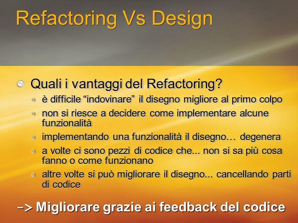 12 Refactoring Vs Design Quali i vantaggi del Refactoring? è difficile indovinare il disegno migliore al primo colpo non si riesce a decidere come imp