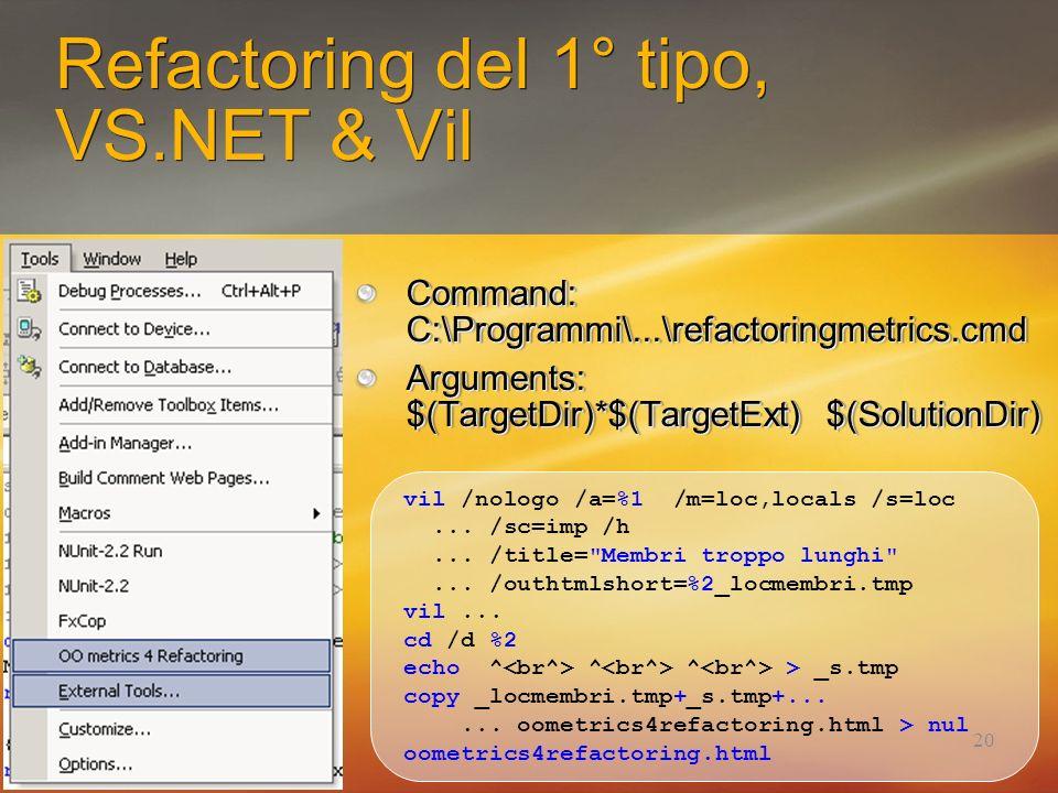 20 Refactoring del 1° tipo, VS.NET & Vil Command: C:\Programmi\...\refactoringmetrics.cmd Arguments: $(TargetDir)*$(TargetExt) $(SolutionDir) Command:
