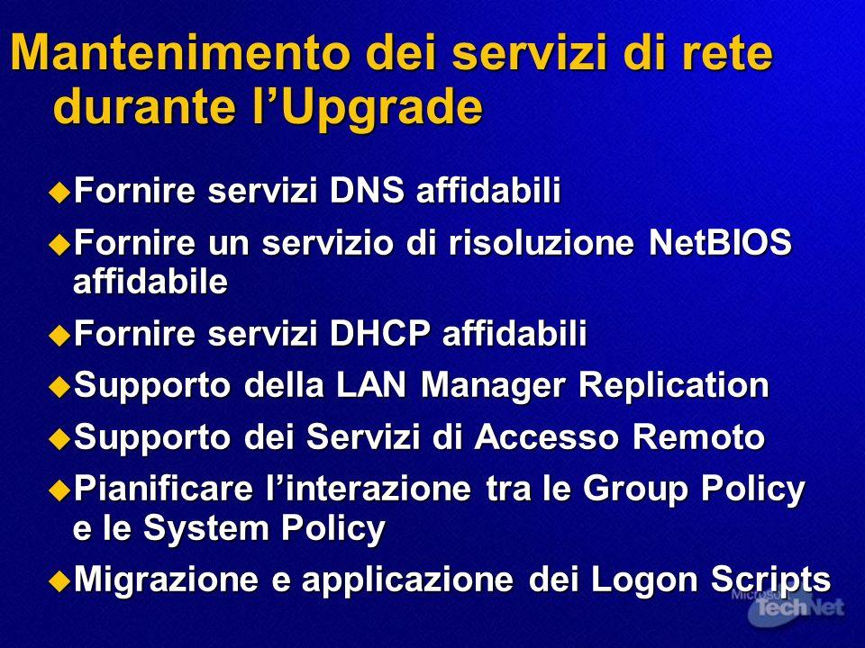 Mantenimento dei servizi di rete durante lUpgrade Fornire servizi DNS affidabili Fornire servizi DNS affidabili Fornire un servizio di risoluzione Net