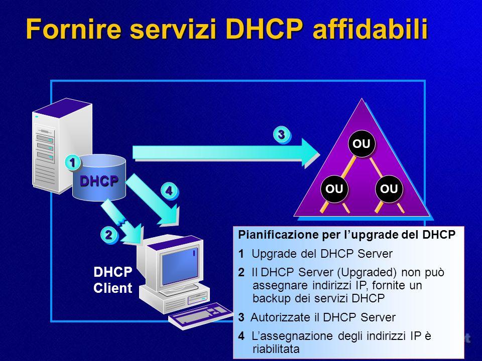 Fornire servizi DHCP affidabili Pianificazione per lupgrade del DHCP 1 Upgrade del DHCP Server 2 Il DHCP Server (Upgraded) non può assegnare indirizzi