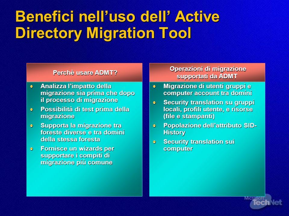 Benefici nelluso dell Active Directory Migration Tool Perchè usare ADMT? Perchè usare ADMT? Analizza limpatto della migrazione sia prima che dopo il p
