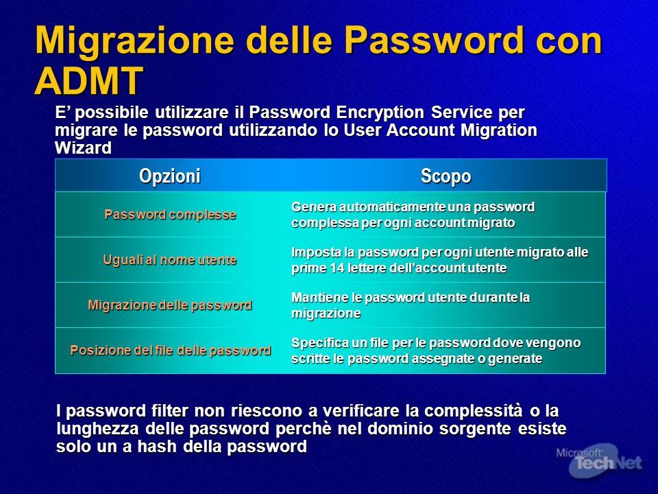 Migrazione delle Password con ADMT OpzioniScopo Password complesse Genera automaticamente una password complessa per ogni account migrato Uguali al no