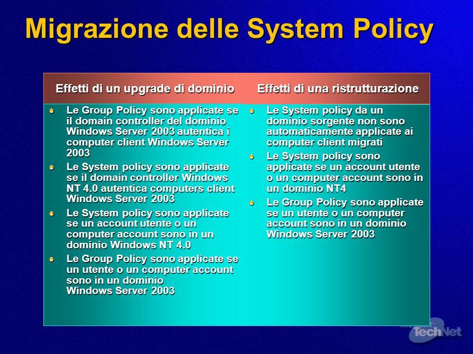 Migrazione delle System Policy Effetti di un upgrade di dominio Effetti di un upgrade di dominio Le Group Policy sono applicate se il domain controlle