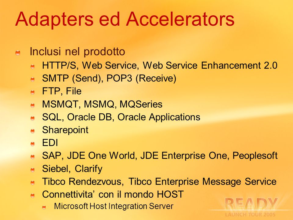 Adapters ed Accelerators Inclusi nel prodotto HTTP/S, Web Service, Web Service Enhancement 2.0 SMTP (Send), POP3 (Receive) FTP, File MSMQT, MSMQ, MQSe