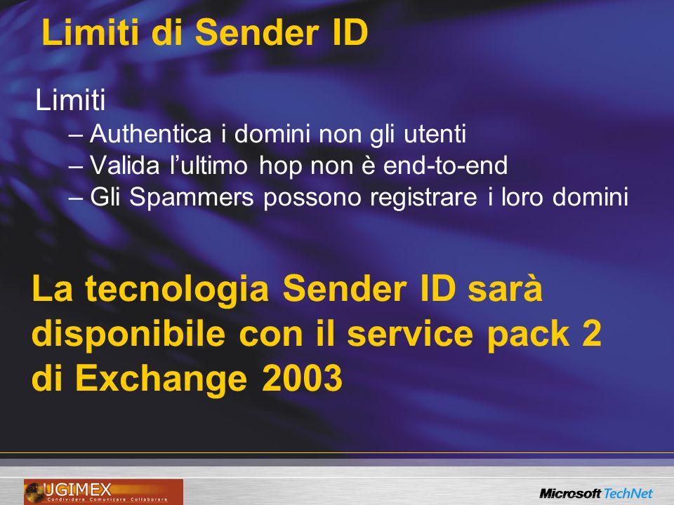 Limiti di Sender ID Limiti –Authentica i domini non gli utenti –Valida lultimo hop non è end-to-end –Gli Spammers possono registrare i loro domini La tecnologia Sender ID sarà disponibile con il service pack 2 di Exchange 2003