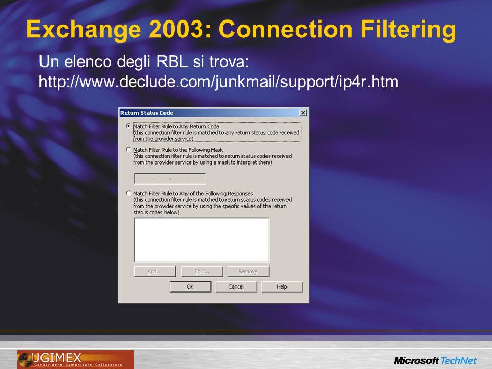 Exchange 2003: Connection Filtering Un elenco degli RBL si trova: http://www.declude.com/junkmail/support/ip4r.htm