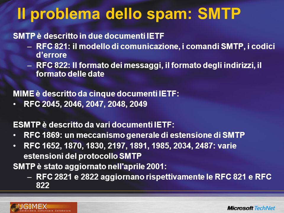 SMTP Teniamo sempre in mente che: SMTP è un protocollo basato su testo, per lo scambio di messaggi di posta e la verifica dei destinatari dei messaggi.