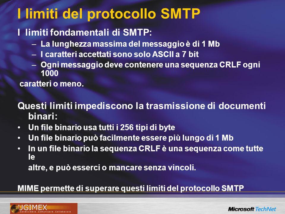 I limiti del protocollo SMTP I limiti fondamentali di SMTP: –La lunghezza massima del messaggio è di 1 Mb –I caratteri accettati sono solo ASCII a 7 bit –Ogni messaggio deve contenere una sequenza CRLF ogni 1000 caratteri o meno.