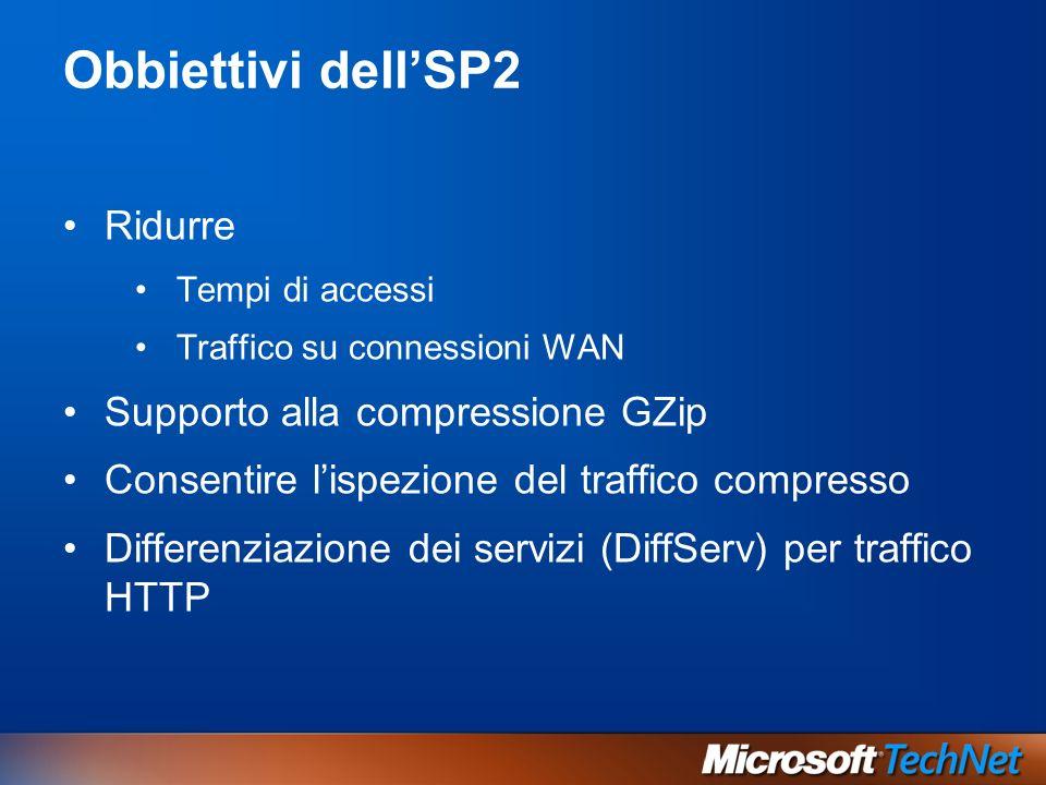 Obbiettivi dellSP2 Ridurre Tempi di accessi Traffico su connessioni WAN Supporto alla compressione GZip Consentire lispezione del traffico compresso Differenziazione dei servizi (DiffServ) per traffico HTTP