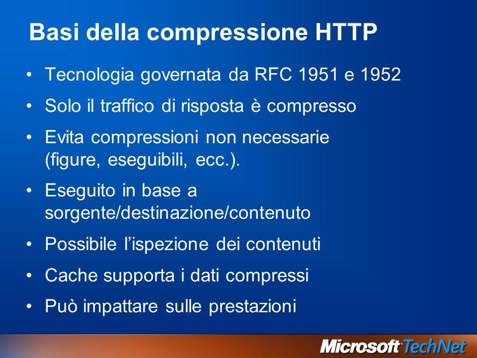 Basi della compressione HTTP Tecnologia governata da RFC 1951 e 1952 Solo il traffico di risposta è compresso Evita compressioni non necessarie (figure, eseguibili, ecc.).