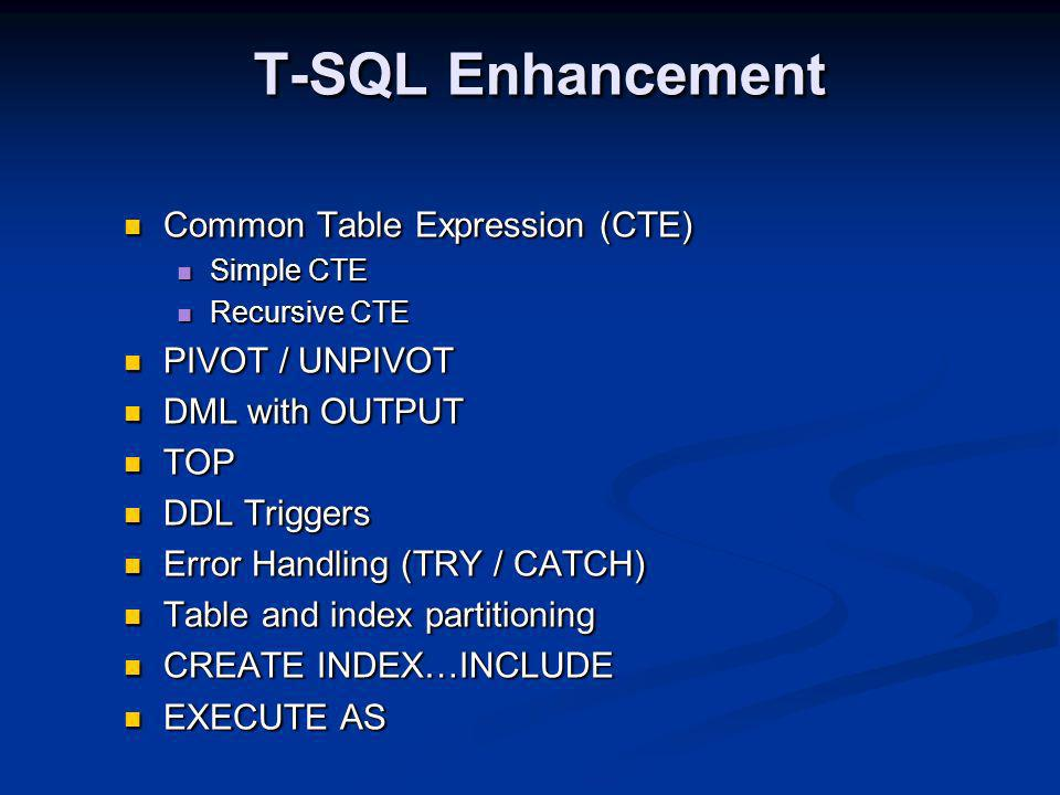 T-SQL Enhancement Common Table Expression (CTE) Common Table Expression (CTE) Simple CTE Simple CTE Recursive CTE Recursive CTE PIVOT / UNPIVOT PIVOT / UNPIVOT DML with OUTPUT DML with OUTPUT TOP TOP DDL Triggers DDL Triggers Error Handling (TRY / CATCH) Error Handling (TRY / CATCH) Table and index partitioning Table and index partitioning CREATE INDEX…INCLUDE CREATE INDEX…INCLUDE EXECUTE AS EXECUTE AS Common Table Expression (CTE) Common Table Expression (CTE) Simple CTE Simple CTE Recursive CTE Recursive CTE PIVOT / UNPIVOT PIVOT / UNPIVOT DML with OUTPUT DML with OUTPUT TOP TOP DDL Triggers DDL Triggers Error Handling (TRY / CATCH) Error Handling (TRY / CATCH) Table and index partitioning Table and index partitioning CREATE INDEX…INCLUDE CREATE INDEX…INCLUDE EXECUTE AS EXECUTE AS