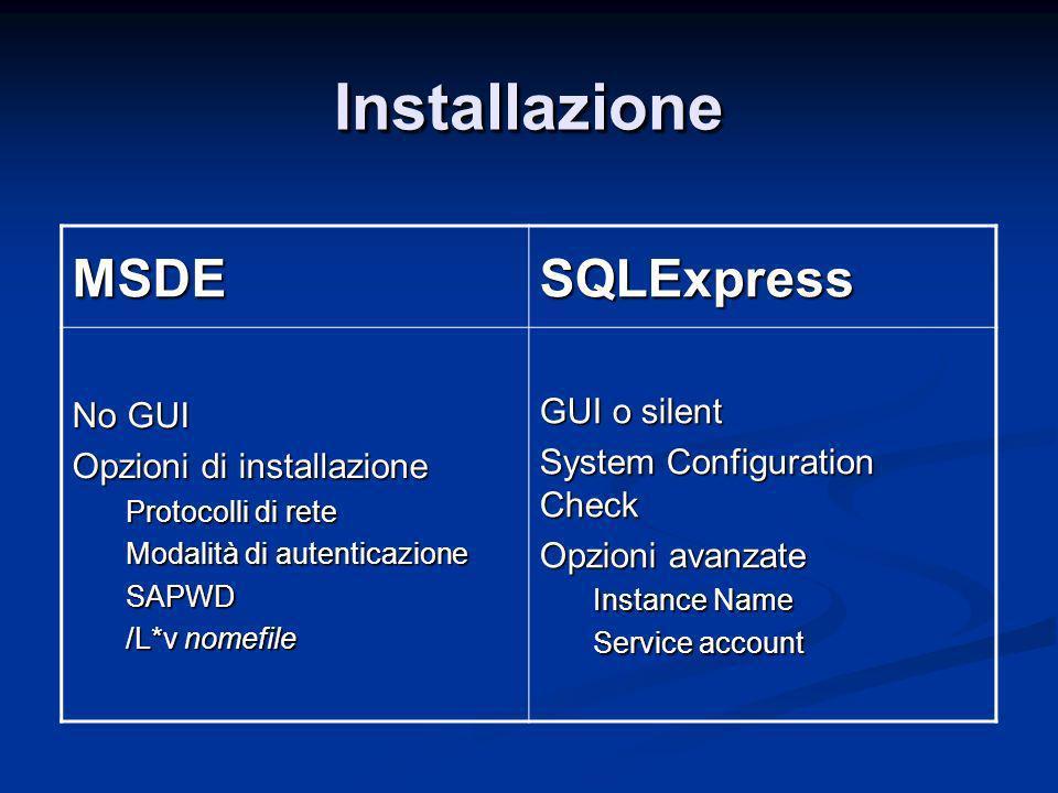 InstallazioneInstallazione MSDESQLExpress No GUI Opzioni di installazione Protocolli di rete Modalità di autenticazione SAPWD /L*v nomefile GUI o silent System Configuration Check Opzioni avanzate Instance Name Service account