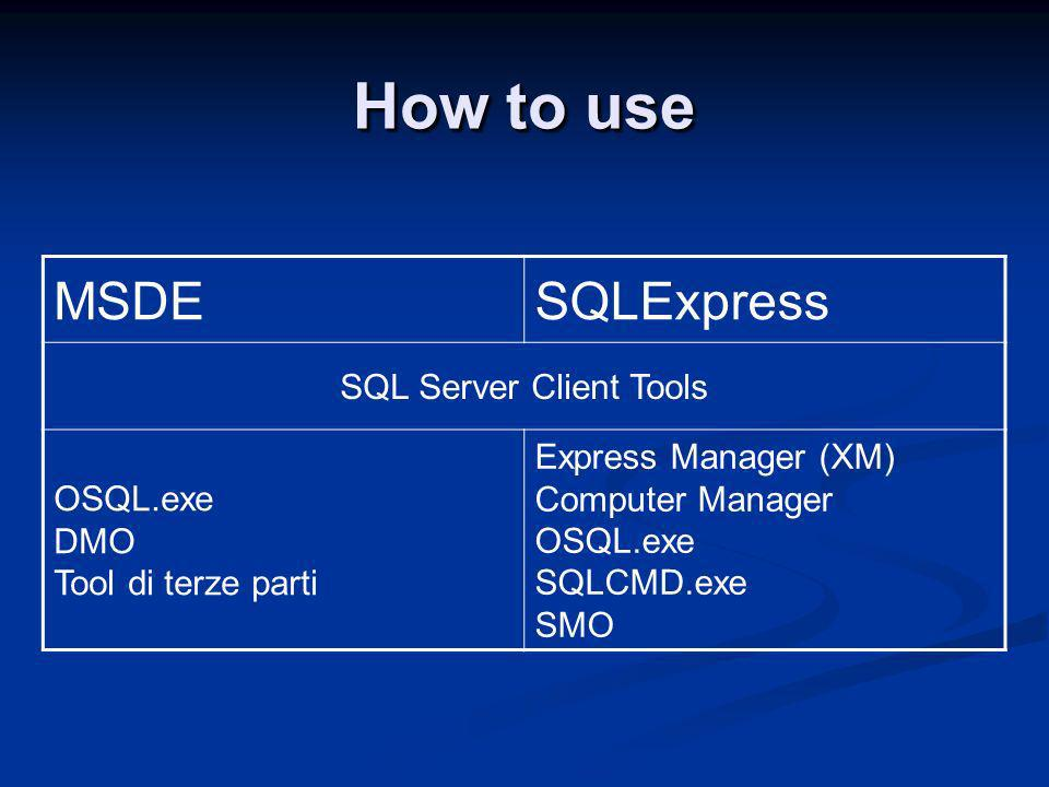 How to use MSDESQLExpress SQL Server Client Tools OSQL.exe DMO Tool di terze parti Express Manager (XM) Computer Manager OSQL.exe SQLCMD.exe SMO