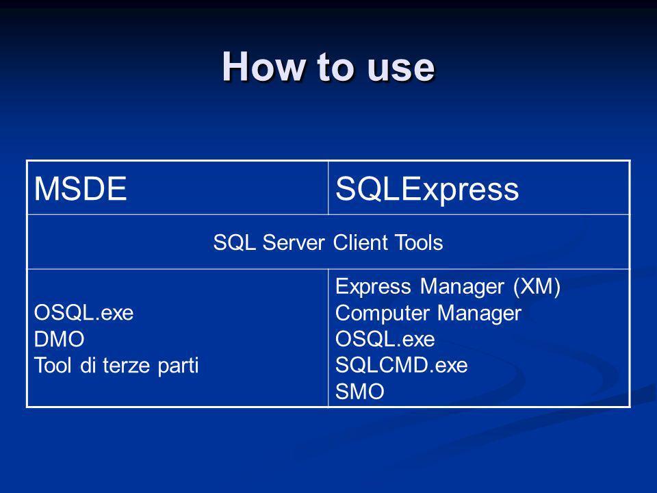 MSDE vs SQLExpress MSDESQLExpress SQL Server Agent DTS Database size limit2 GB4 GB CPU1 - 21 RAM2 GB1 GB Workload query governormax 8 c.