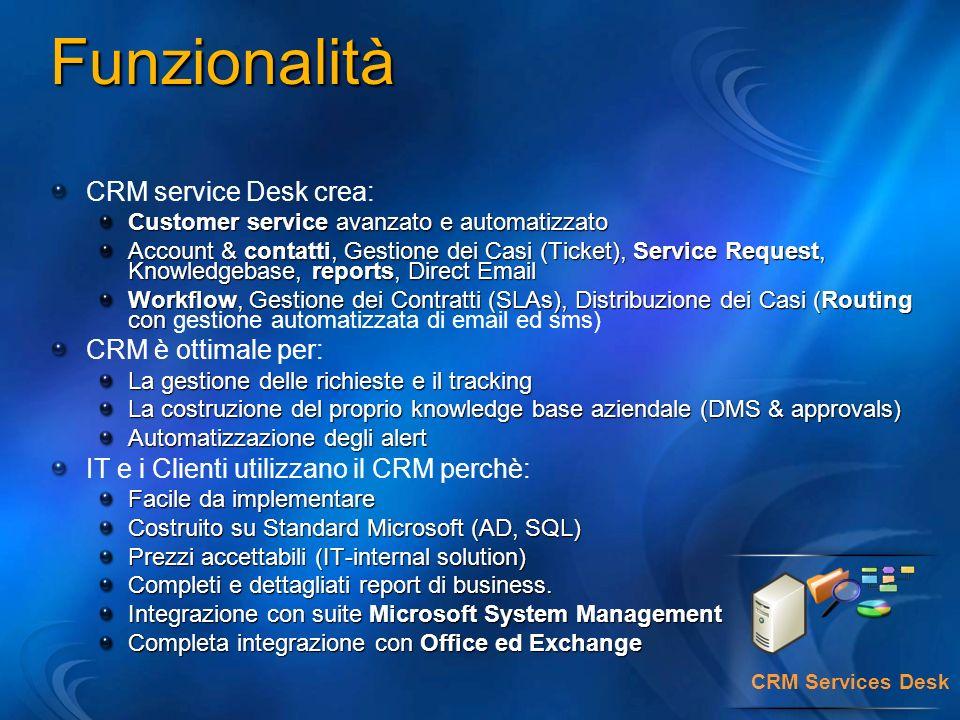 CRM Services Desk CRM service Desk crea: Customer service avanzato e automatizzato Account & contatti, Gestione dei Casi (Ticket), Service Request, Knowledgebase, reports, Direct Email Workflow, Gestione dei Contratti (SLAs), Distribuzione dei Casi (Routing con Workflow, Gestione dei Contratti (SLAs), Distribuzione dei Casi (Routing con gestione automatizzata di email ed sms) CRM è ottimale per: La gestione delle richieste e il tracking La costruzione del proprio knowledge base aziendale (DMS & approvals) Automatizzazione degli alert IT e i Clienti utilizzano il CRM perchè: Facile da implementare Costruito su Standard Microsoft (AD, SQL) Prezzi accettabili (IT-internal solution) Completi e dettagliati report di business.