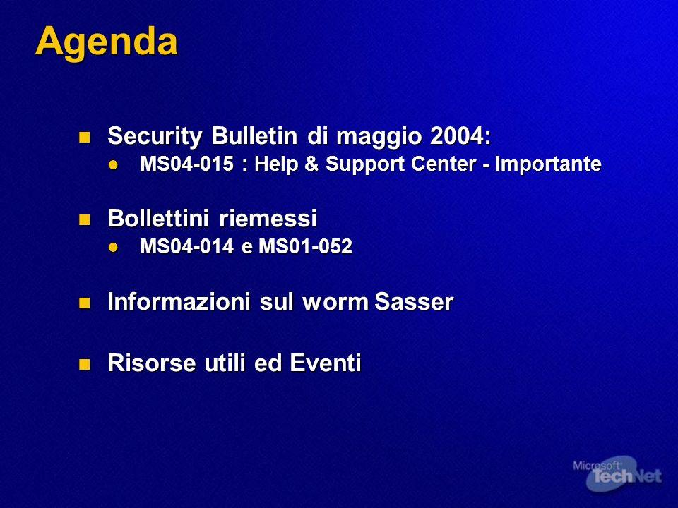 Agenda Security Bulletin di maggio 2004: Security Bulletin di maggio 2004: MS04-015 : Help & Support Center - Importante MS04-015 : Help & Support Center - Importante Bollettini riemessi Bollettini riemessi MS04-014 e MS01-052 MS04-014 e MS01-052 Informazioni sul worm Sasser Informazioni sul worm Sasser Risorse utili ed Eventi Risorse utili ed Eventi