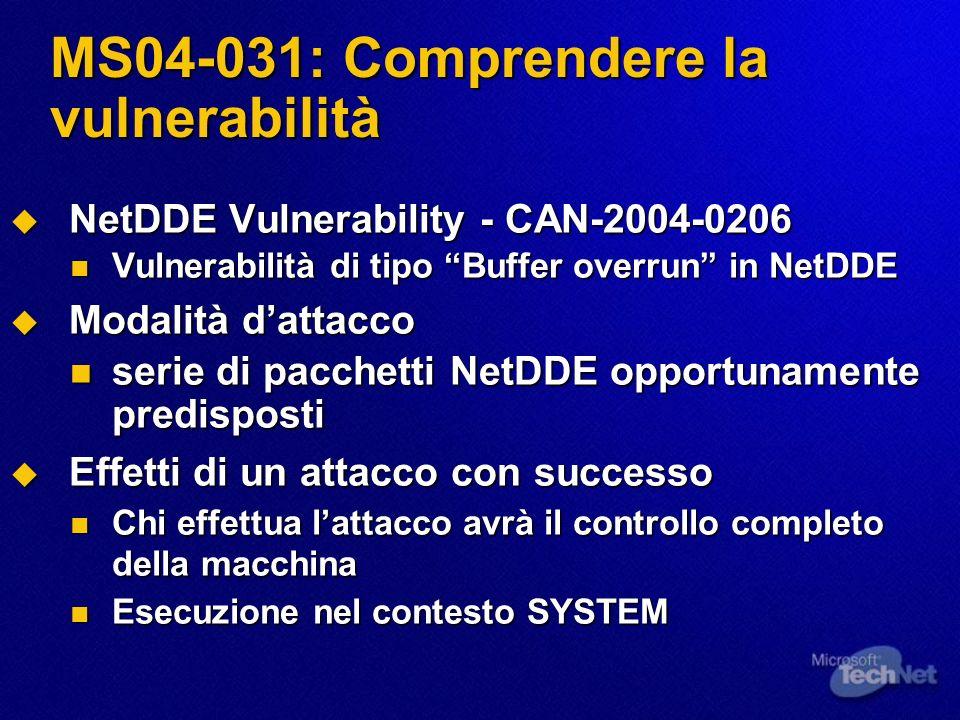 MS04-031: Comprendere la vulnerabilità NetDDE Vulnerability - CAN-2004-0206 NetDDE Vulnerability - CAN-2004-0206 Vulnerabilità di tipo Buffer overrun