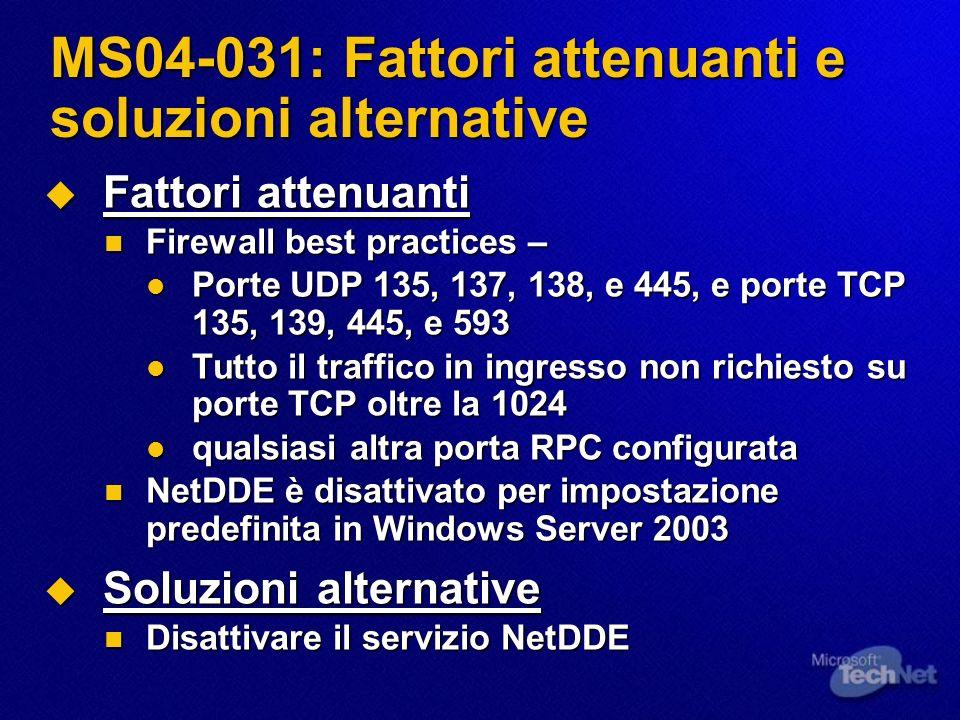 MS04-031: Fattori attenuanti e soluzioni alternative Fattori attenuanti Fattori attenuanti Firewall best practices – Firewall best practices – Porte U