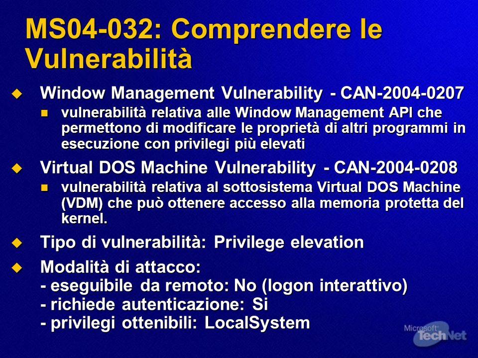 MS04-032: Comprendere le Vulnerabilità Window Management Vulnerability - CAN-2004-0207 Window Management Vulnerability - CAN-2004-0207 vulnerabilità r