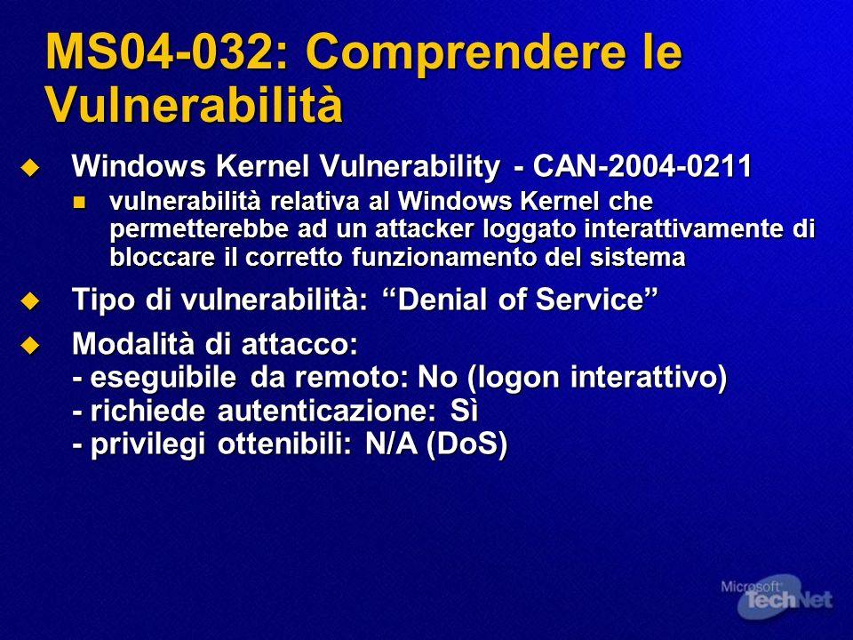 MS04-032: Comprendere le Vulnerabilità Windows Kernel Vulnerability - CAN-2004-0211 Windows Kernel Vulnerability - CAN-2004-0211 vulnerabilità relativ