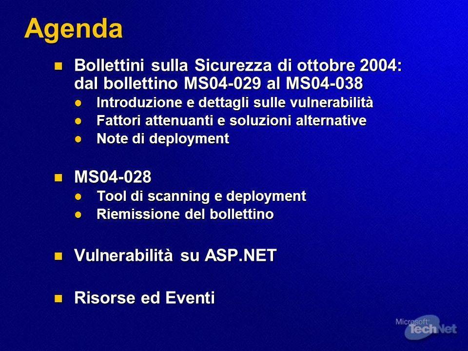 Agenda Bollettini sulla Sicurezza di ottobre 2004: dal bollettino MS04-029 al MS04-038 Bollettini sulla Sicurezza di ottobre 2004: dal bollettino MS04