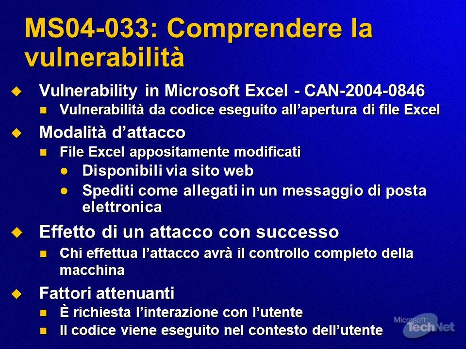 MS04-033: Comprendere la vulnerabilità Vulnerability in Microsoft Excel - CAN-2004-0846 Vulnerability in Microsoft Excel - CAN-2004-0846 Vulnerabilità