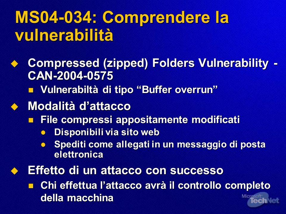 MS04-034: Comprendere la vulnerabilità Compressed (zipped) Folders Vulnerability - CAN-2004-0575 Compressed (zipped) Folders Vulnerability - CAN-2004-