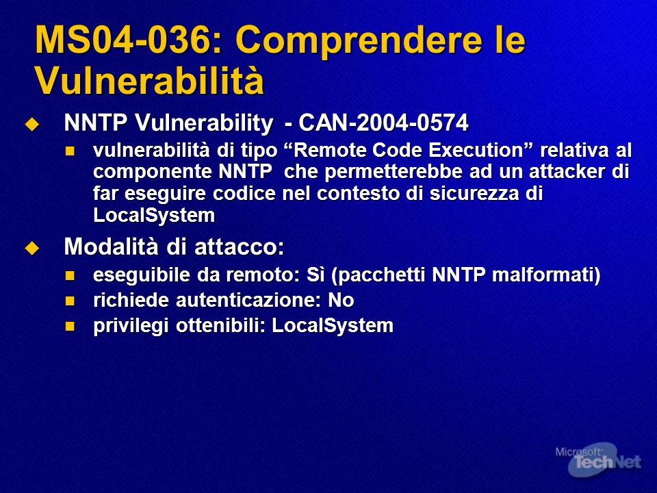 MS04-036: Comprendere le Vulnerabilità NNTP Vulnerability - CAN-2004-0574 NNTP Vulnerability - CAN-2004-0574 vulnerabilità di tipo Remote Code Executi