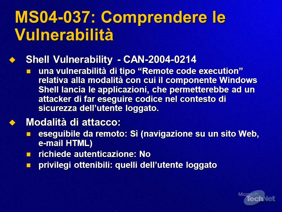 MS04-037: Comprendere le Vulnerabilità Shell Vulnerability - CAN-2004-0214 Shell Vulnerability - CAN-2004-0214 una vulnerabilità di tipo Remote code e