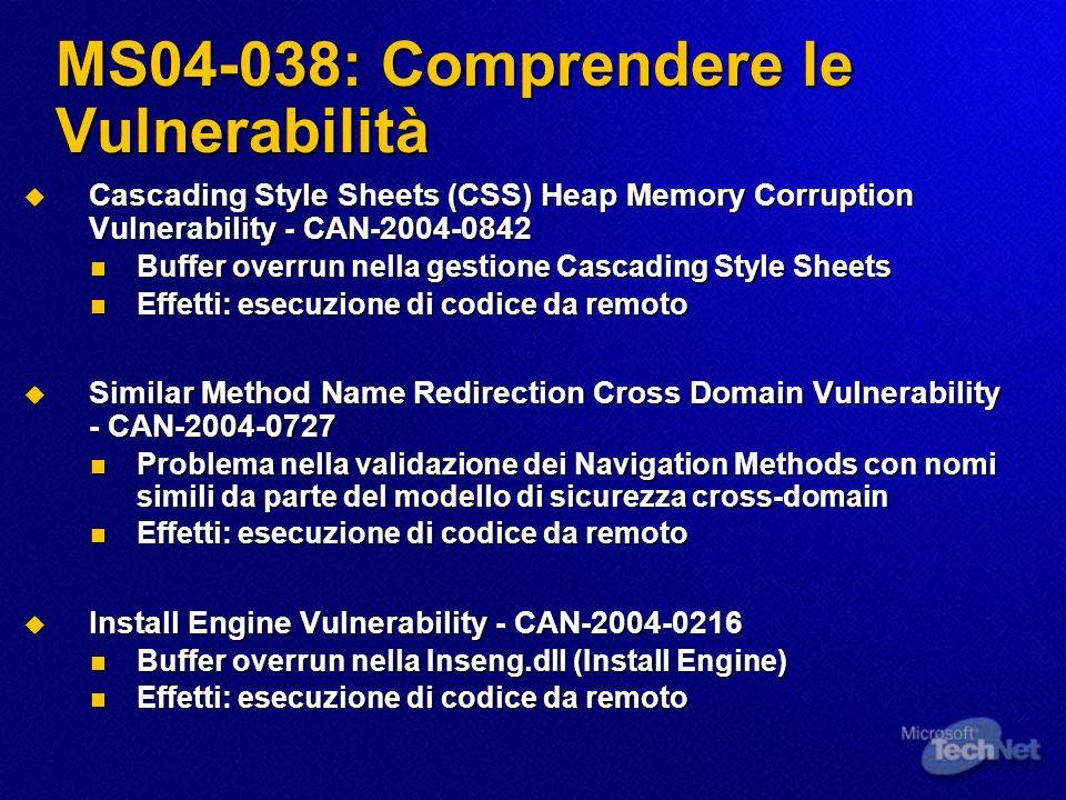 MS04-038: Comprendere le Vulnerabilità Cascading Style Sheets (CSS) Heap Memory Corruption Vulnerability - CAN-2004-0842 Cascading Style Sheets (CSS)