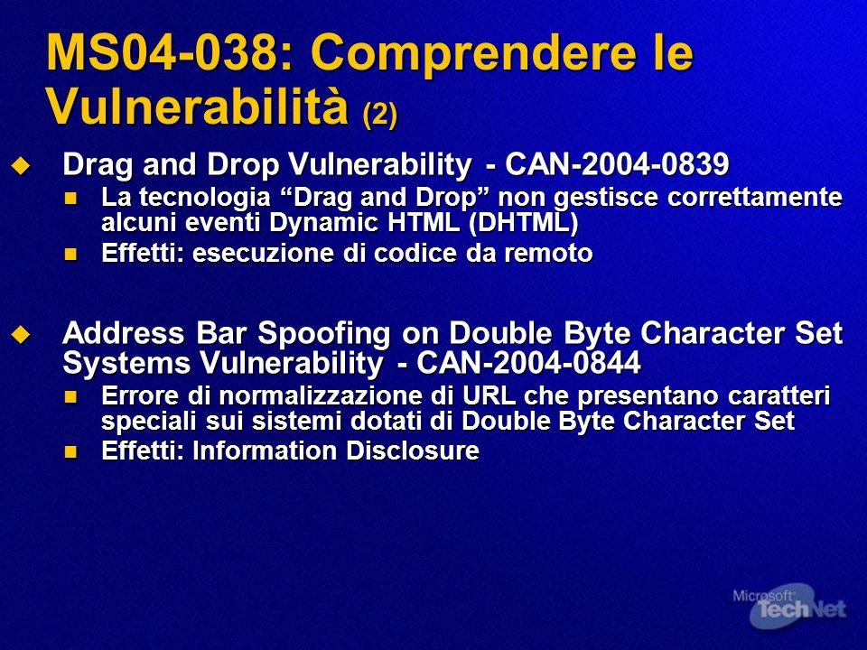 MS04-038: Comprendere le Vulnerabilità (2) Drag and Drop Vulnerability - CAN-2004-0839 Drag and Drop Vulnerability - CAN-2004-0839 La tecnologia Drag